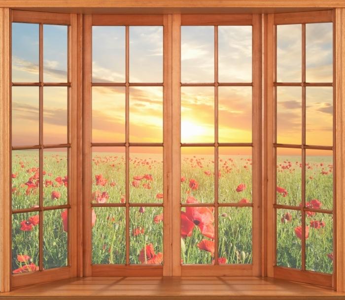 Papier peint vinyle Terrasse - Champ de coquelicots - La vue à travers la fenêtre