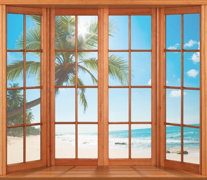 Carta da Parati in Vinile Terrazza - Spiaggia tropicale - Vista attraverso la finestra