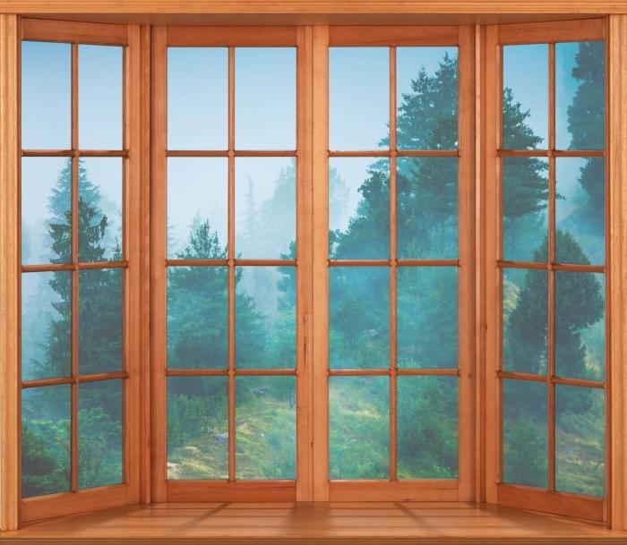 Papier peint vinyle Terrasse - Brouillard - La vue à travers la fenêtre