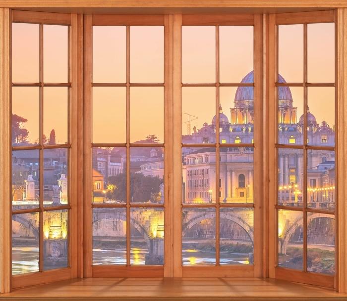 Fototapeta winylowa Taras - Katedra Świętego Piotra. Rzym - Widok przez okno