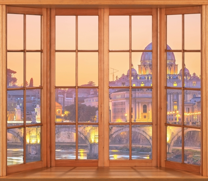 Terrace - Cathedral of St. Peter. Rome Vinyl Wall Mural - View through the window