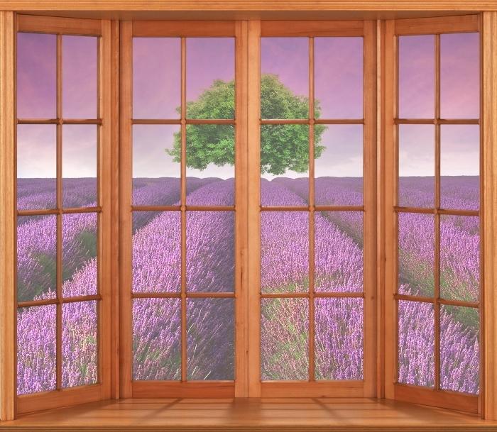 Papier peint vinyle Terrasse - Paysage d'été - La vue à travers la fenêtre