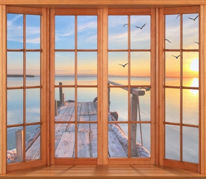 Papier peint vinyle Terrasse - Lac - La vue à travers la fenêtre
