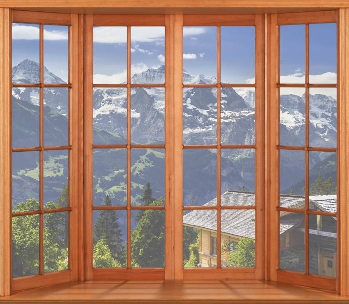 Papier peint vinyle Terrasse - Montagnes - La vue à travers la fenêtre