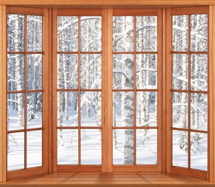 Fototapeta winylowa Taras - Śnieżne brzozy - Widok przez okno