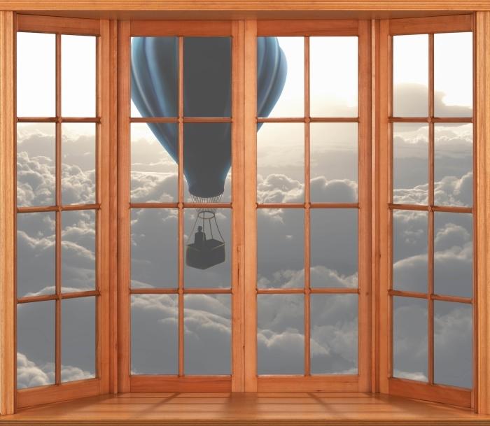 Fototapeta winylowa Taras - Balon na niebie - Widok przez okno