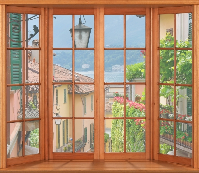 Papier peint vinyle Terrasse - ville pittoresque en Italie - La vue à travers la fenêtre