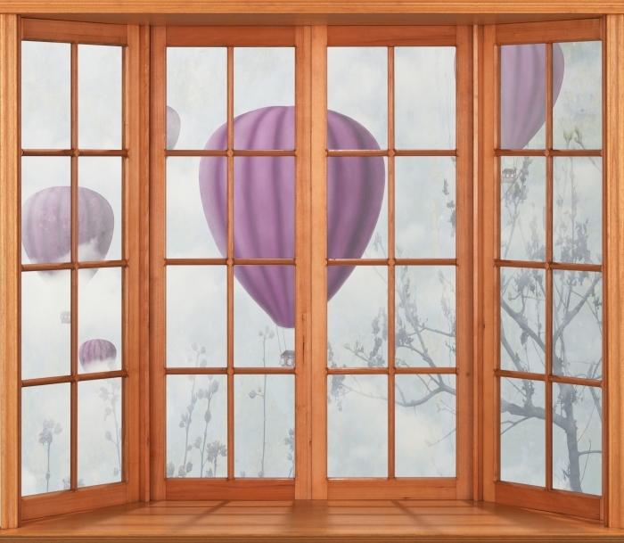 Papier peint vinyle Terrasse - Ballons dans le ciel - La vue à travers la fenêtre