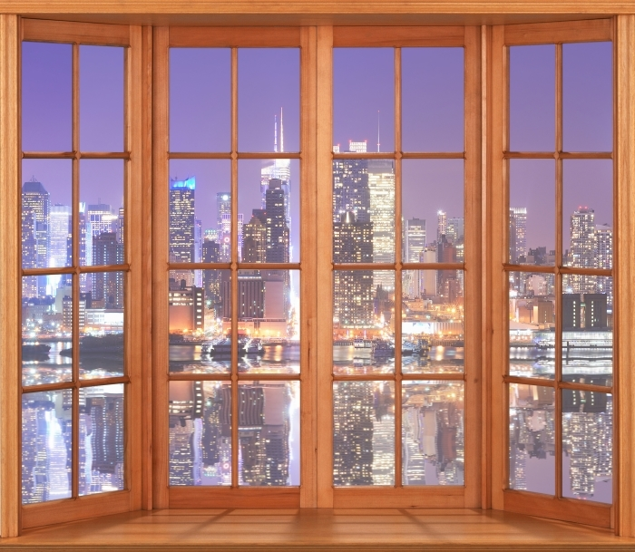 Papier peint vinyle Terrasse - Manhattan - La vue à travers la fenêtre