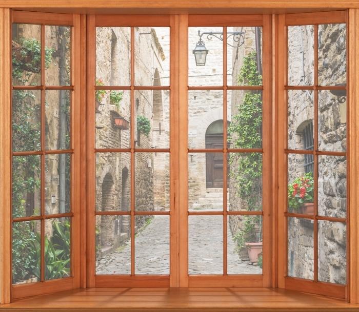 Papier peint vinyle Terrasse - Italie - La vue à travers la fenêtre