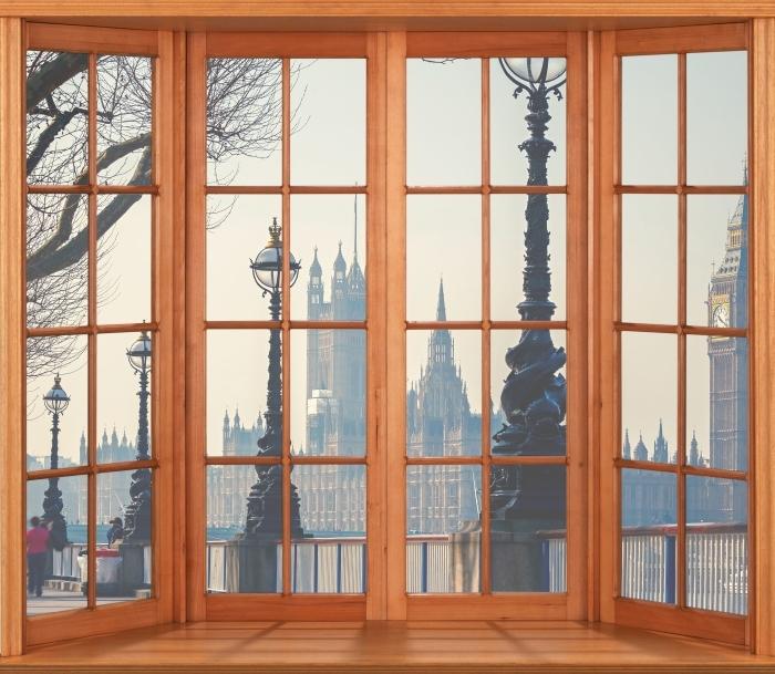 Papier peint vinyle Terrasse - Big Ben. Londres. - La vue à travers la fenêtre