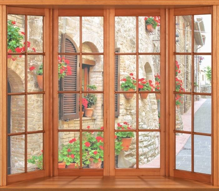 Papier peint vinyle Terrasse - colline italienne - La vue à travers la fenêtre
