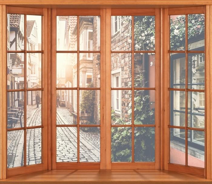 Papier peint vinyle Terrasse - Vieilles rues - La vue à travers la fenêtre