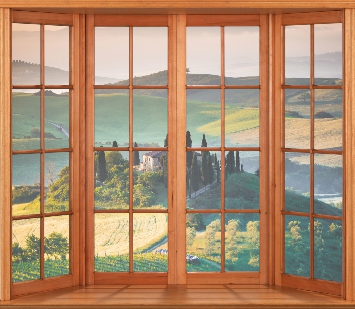 Fototapeta winylowa Taras - Toskania - Widok przez okno