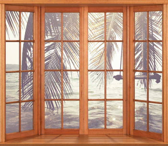 Naklejka Pixerstick Taras - Tropikalna plaża - Widok przez okno