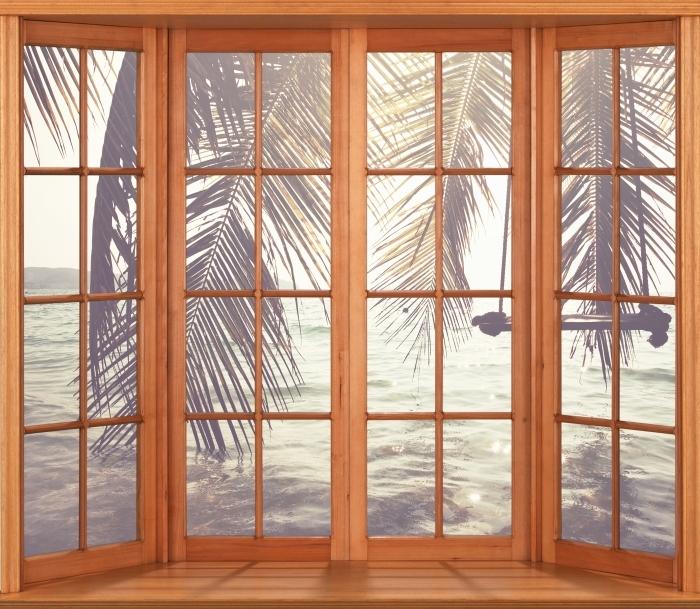Pixerstick Sticker Terras - Tropisch strand - Uitzicht door het raam
