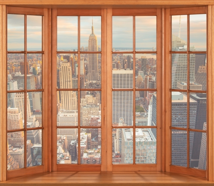 Papier peint vinyle Terrasse - Vue sur le coucher du soleil à New York - La vue à travers la fenêtre