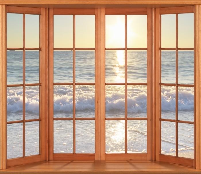 Vinyl-Fototapete Terrasse - Sommer am Meer - Blick durch das Fenster