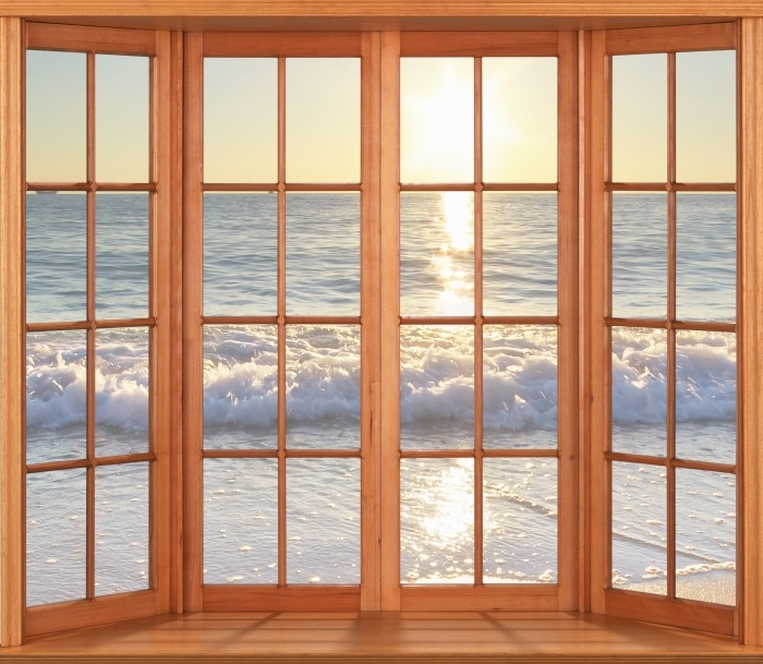 Papier peint vinyle Terrasse - bord de mer d'été - La vue à travers la fenêtre