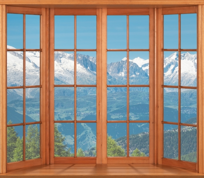 Fototapeta winylowa Taras - Panorama wysokich górach - Widok przez okno