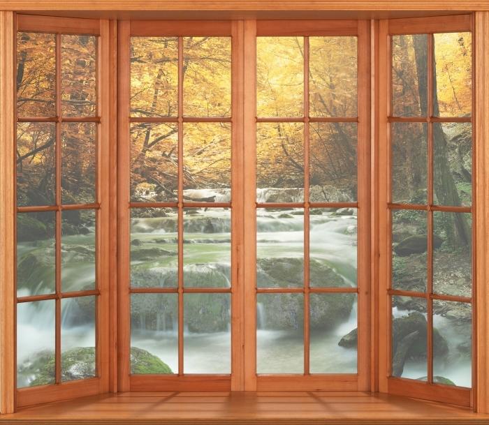 Fototapeta winylowa Taras - Las i wodospad - Widok przez okno