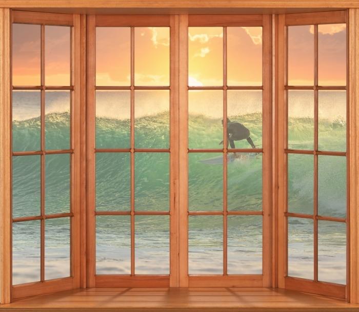 Fototapeta winylowa Taras - Surfing - Widok przez okno