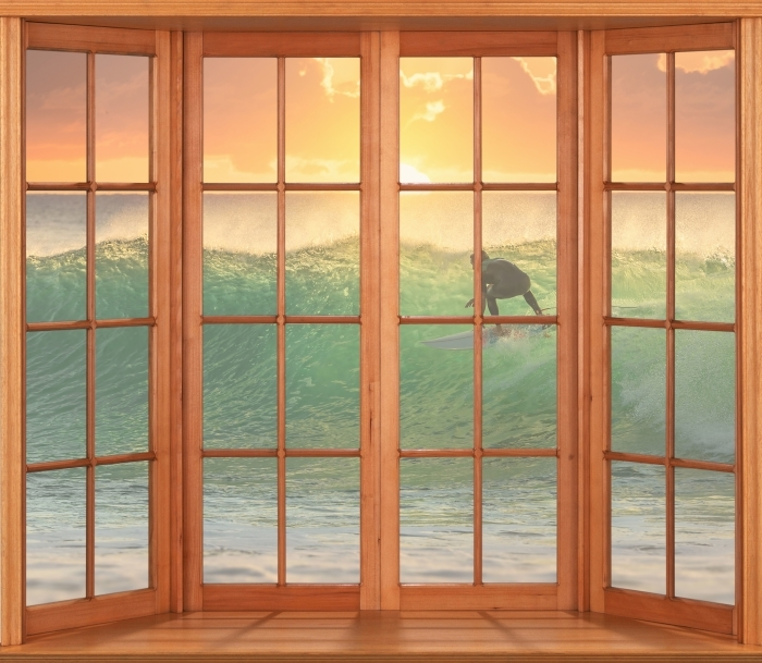 Papier peint vinyle Terrasse - Surf - La vue à travers la fenêtre