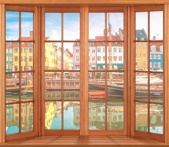 Papier peint vinyle Terrasse - Copenhague - La vue à travers la fenêtre