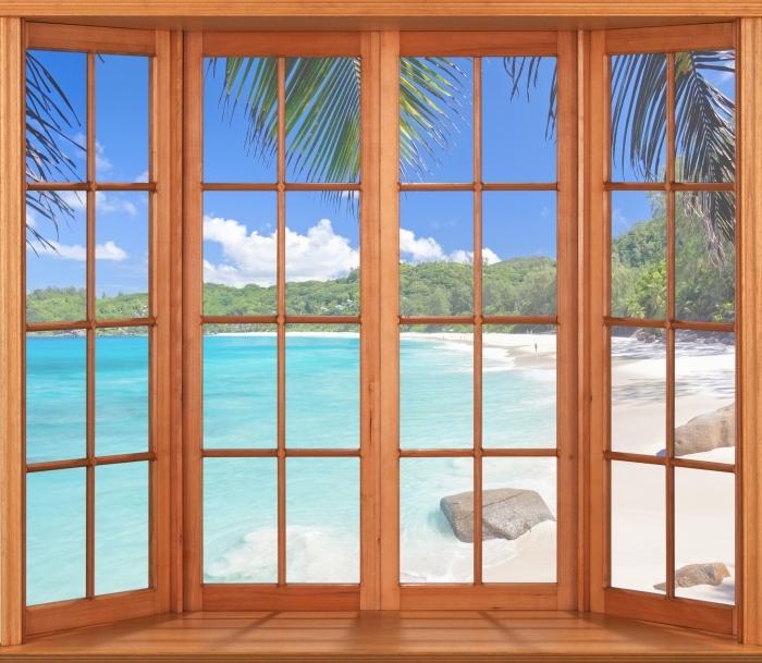 Fototapeta winylowa Taras - Tropiki - Widok przez okno