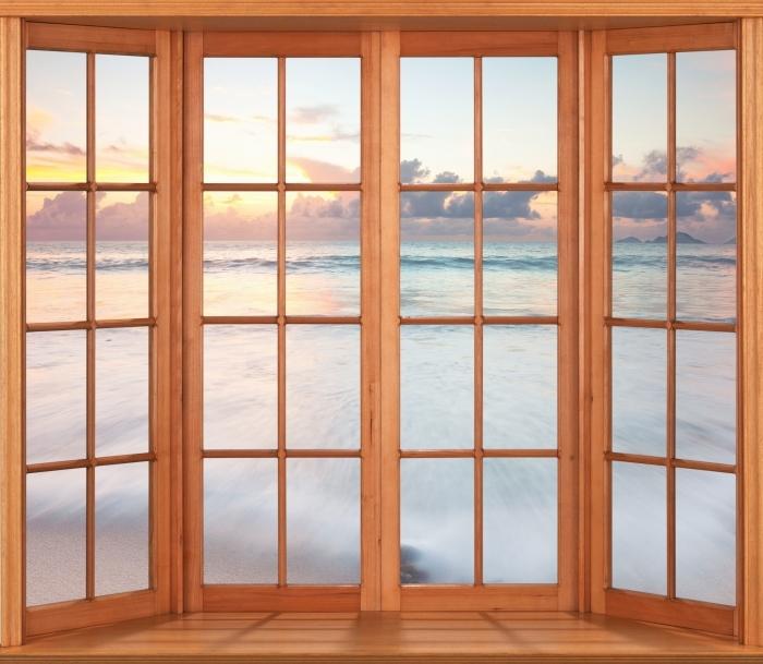 Papier peint vinyle Terrasse - Plage - La vue à travers la fenêtre