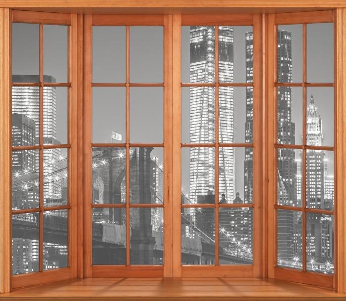 Papier peint vinyle Terrasse - New-York la nuit. Le pont de Brooklyn. - La vue à travers la fenêtre