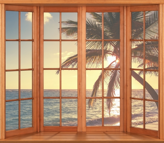 Fototapeta winylowa Taras - Palmy na tropikalnej plaży - Widok przez okno