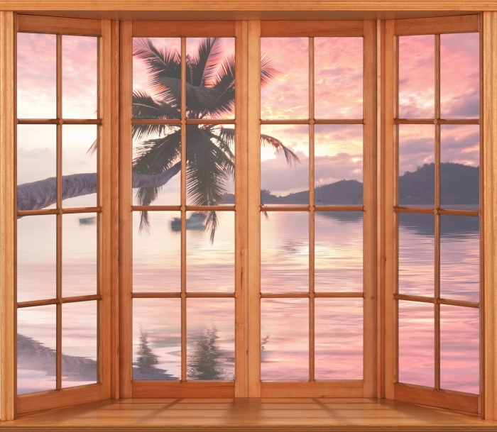 Vinyl-Fototapete Terrasse - Meer - Blick durch das Fenster