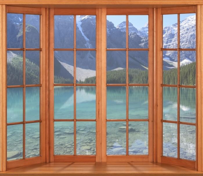 Papier peint vinyle Terrasse - matin d'été - La vue à travers la fenêtre