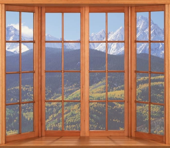Fototapeta winylowa Taras - Wilson Peak. Kolorado. - Widok przez okno