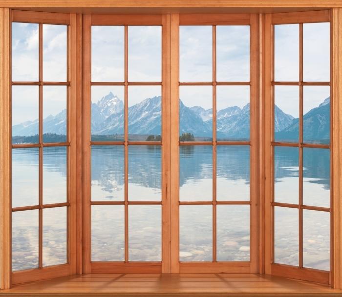 Papier peint vinyle Terrasse - Parc national de Grand Teton - La vue à travers la fenêtre