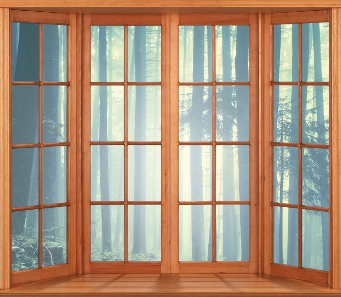 Papier peint vinyle Terrasse - paysage brumeux. Slovénie. - La vue à travers la fenêtre