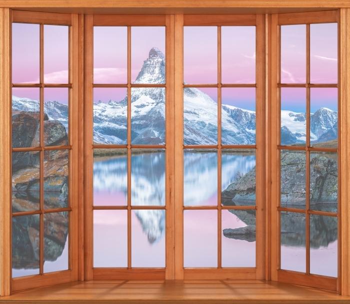 Vinyl-Fototapete Terrasse - See und die Berge - Blick durch das Fenster