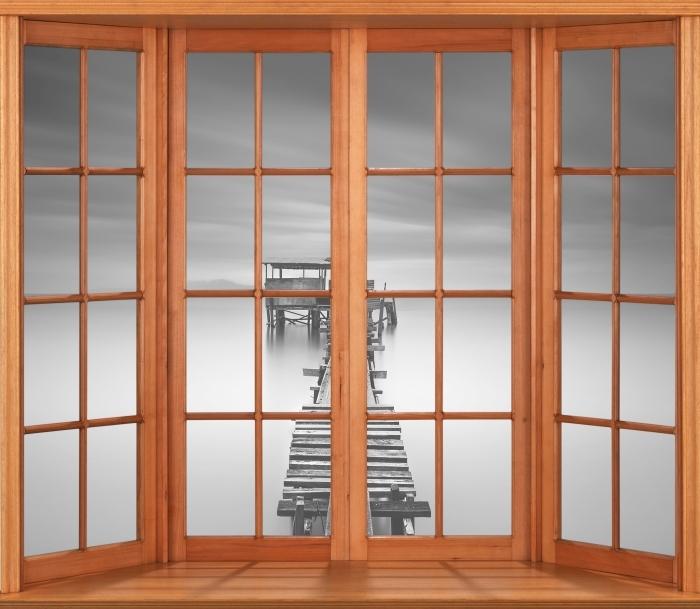 Carta da Parati in Vinile Terrazza - pontile in legno - Vista attraverso la finestra