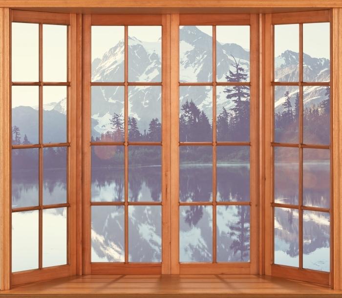 Vinyl-Fototapete Terrasse - See - Blick durch das Fenster