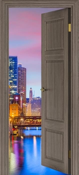 Carta da Parati in Vinile porta marrone - Chicago, Illinois, USA. -