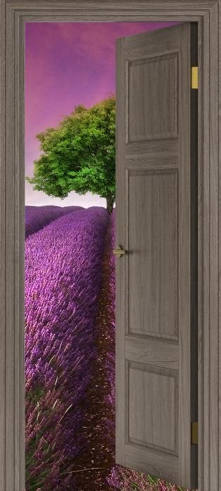 Naklejka Pixerstick Brązowe drzwi - Letni krajobraz -