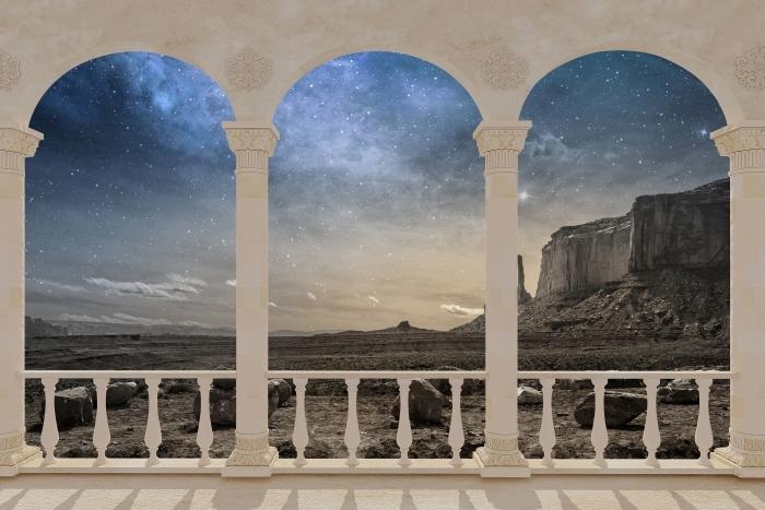 Papier peint vinyle Terrasse - désert rocheux -