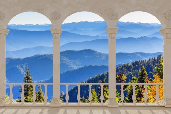 Papier peint vinyle Terrasse - Montagnes -