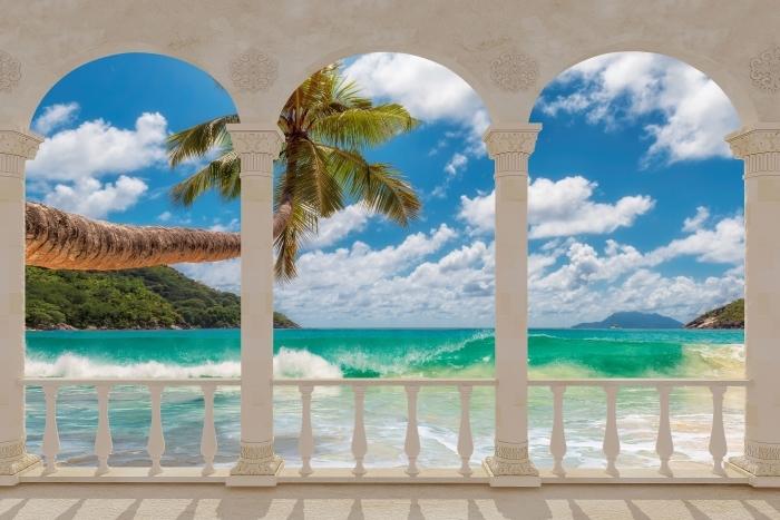 Papier peint vinyle Terrasse - Paradis sur la plage -