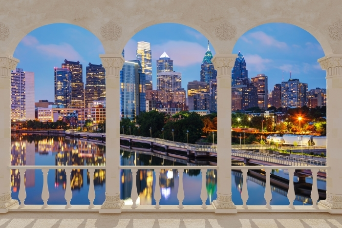 Terrace - Philadelphia at night Vinyl Wall Mural - Terraces