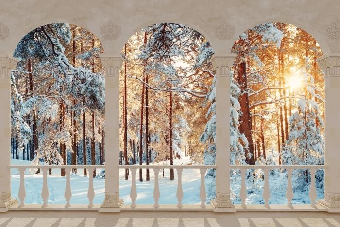 Fototapeta winylowa Taras - Sosny pokryte śniegiem - Tarasy