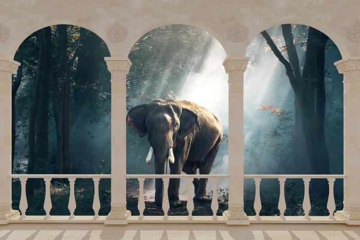 Fotomural Estándar Terraza - elefante en el bosque -