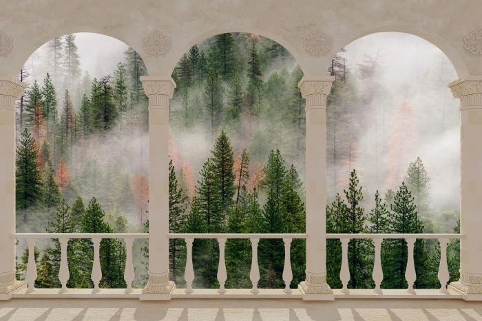 Vinyl-Fototapete Terrasse - Wald im Nebel -