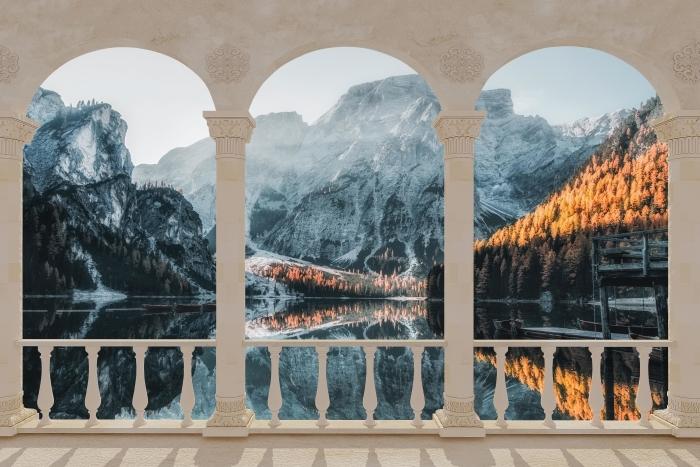 Papier peint vinyle Terrasse - bateaux. Montagnes Dolomites -
